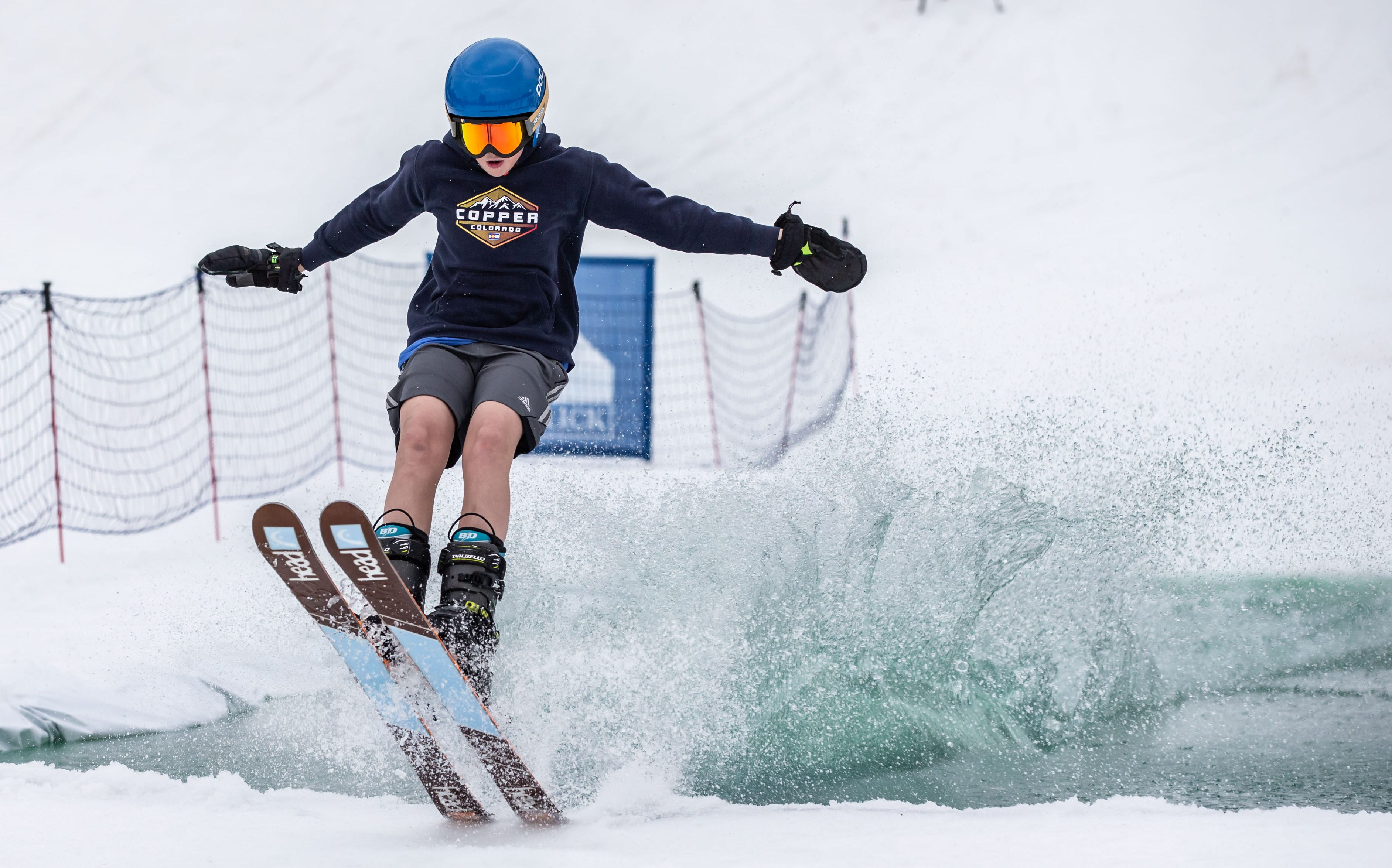 Burke Phillips, 12, of Hartland rockets out of the water during the 2nd annual Pond Skim at Ausblick Ski Hill in Sussex on Saturday, April 6, 2019. The pond skim is held on the last day of the season as club members celebrate another fun-filled year on the slopes.