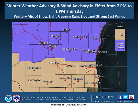 Strong winds and a wintry mix of precipitation are forecast across southern Wisconsin on Wednesday night into Thursday.