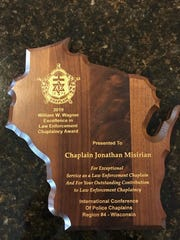 Franklin Police Department Chaplain Jonathan Misirian of Southbrook Church recently won an award for excellence in law enforcement chaplaincy.