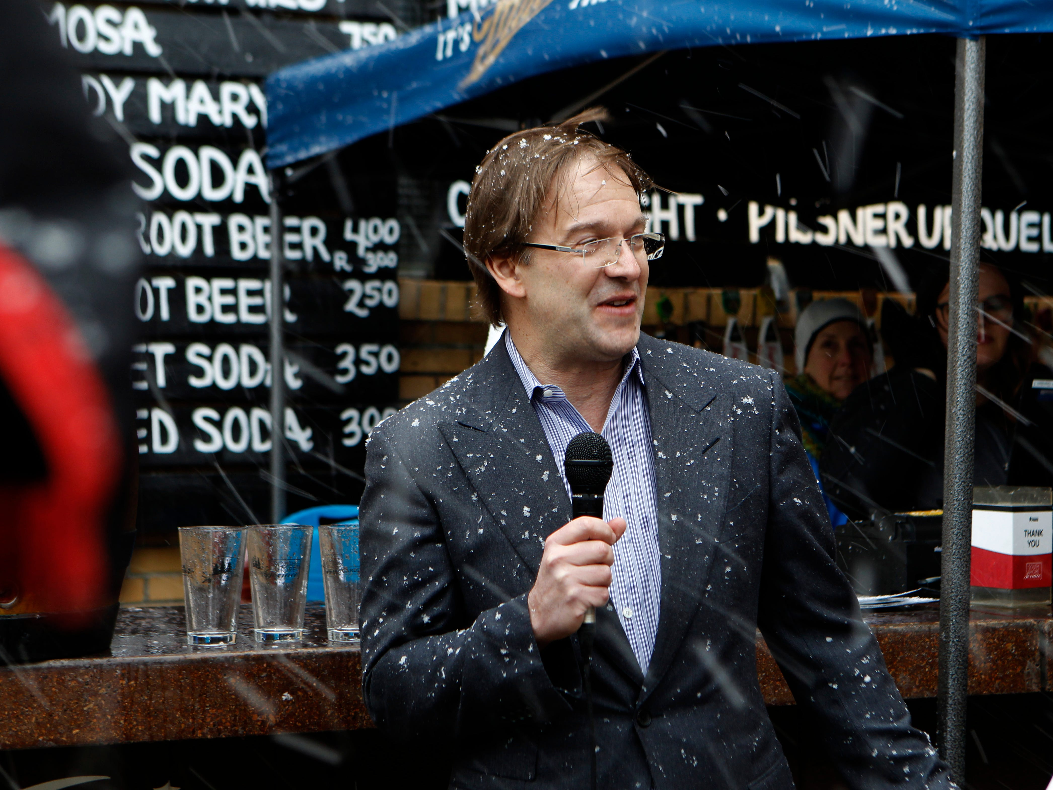 Milwaukee County Executive Chris Abele speaks before the free beer tap opens at  South Shore Terrace.