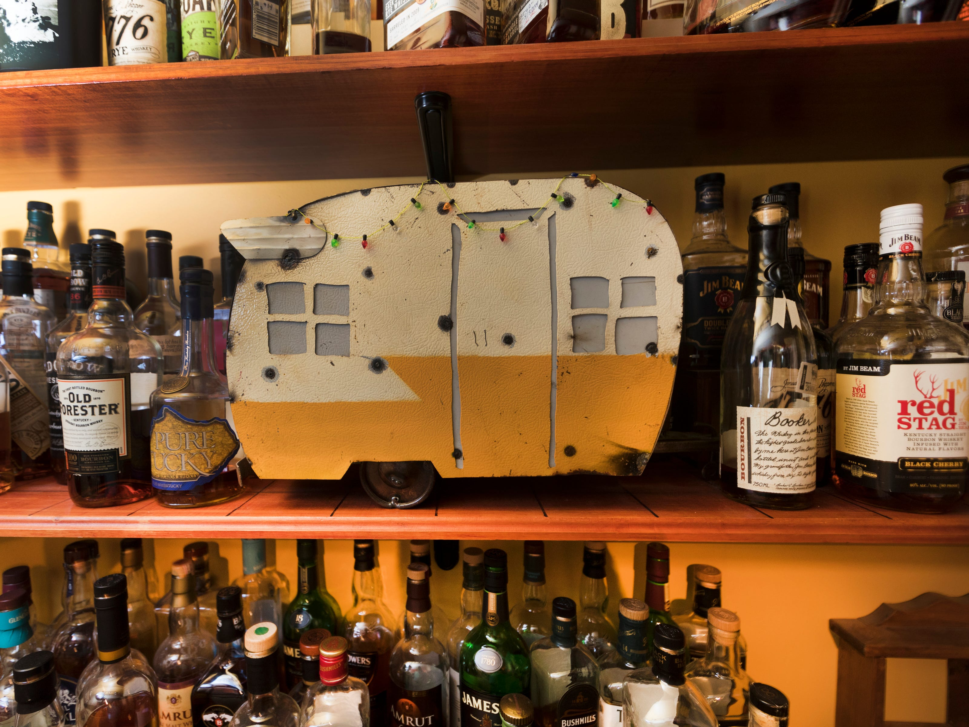 A model travel trailer is shown Tuesday, April 9, 2019 at the soon-to-open Trailer Park Tavern, 2989 S. Kinnickinnic Ave. in Milwaukee, Wis. The bar, owned by Jordon (CQ) Bledsoe, is to open in May.