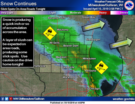 Snow was moving across Wisconsin on Wednesday evening, creating slippery travel conditions in some areas of the state.