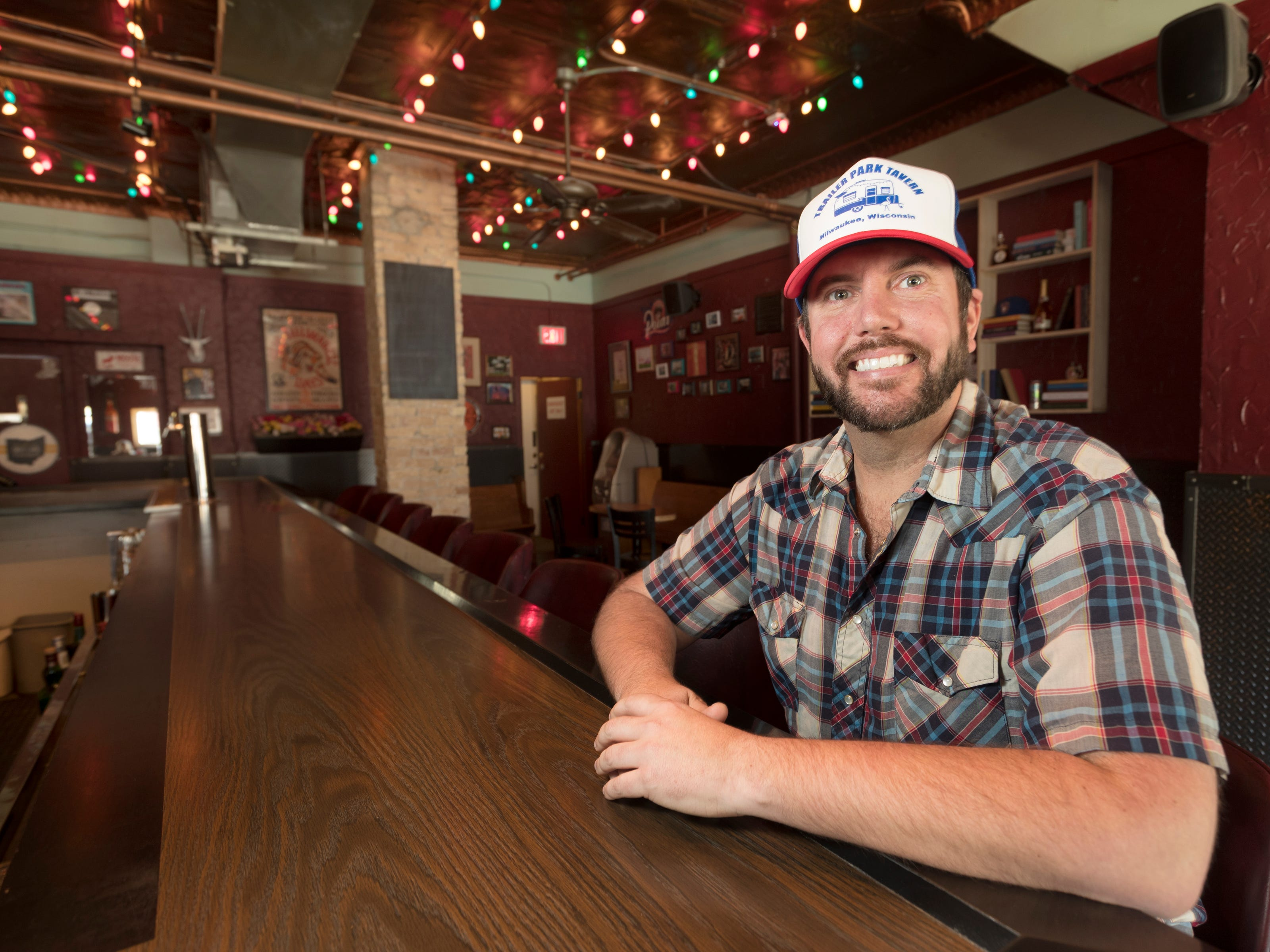 Jordon Bledsoe is shown Tuesday, April 9, 2019, at his soon-to-open Trailer Park Tavern, 2989 S. Kinnickinnic Ave. in Milwaukee, Wis. The bar is to open in May.