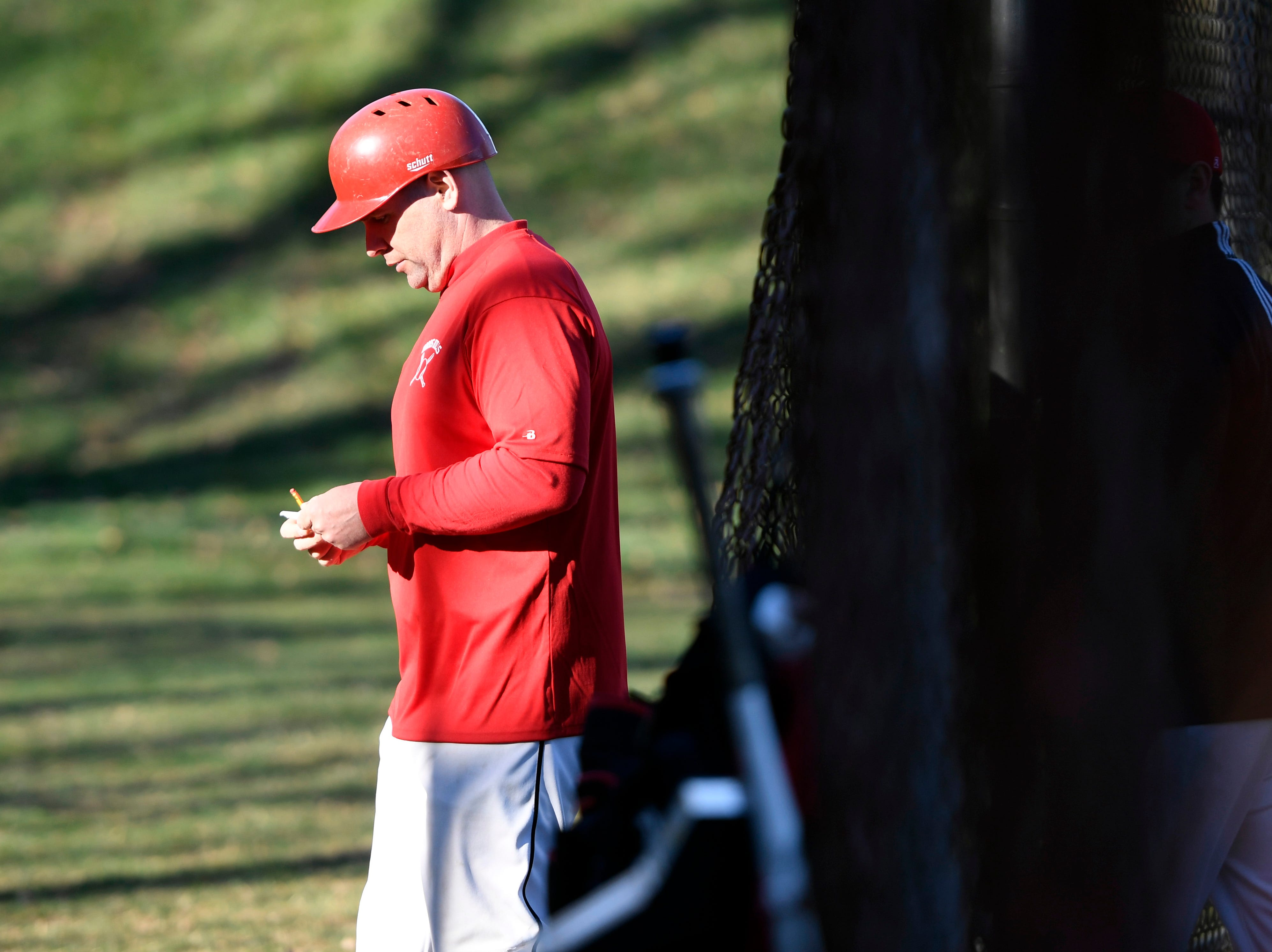 Morris Hills head coach Bert Giovine on the field during a game against Parsippany Hills on Wednesday, April 10, 2019, in Rockaway.