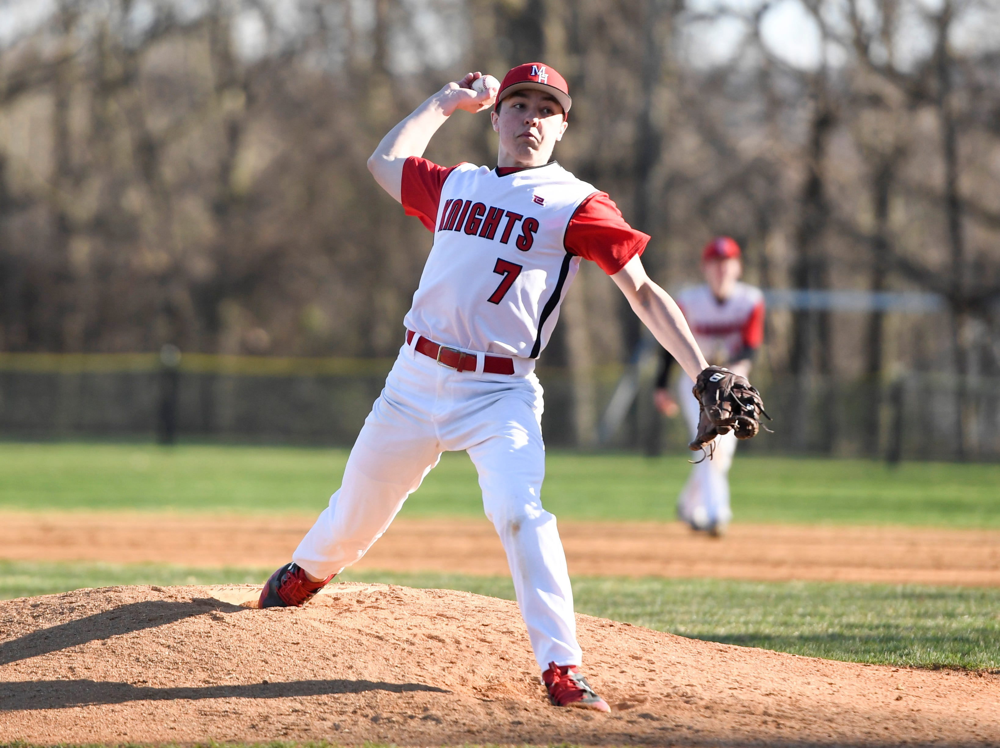 Morris Hills' Jason Panteliona pitches to Parsippany Hills during a game against Parsippany Hills on Wednesday, April 10, 2019, in Rockaway.