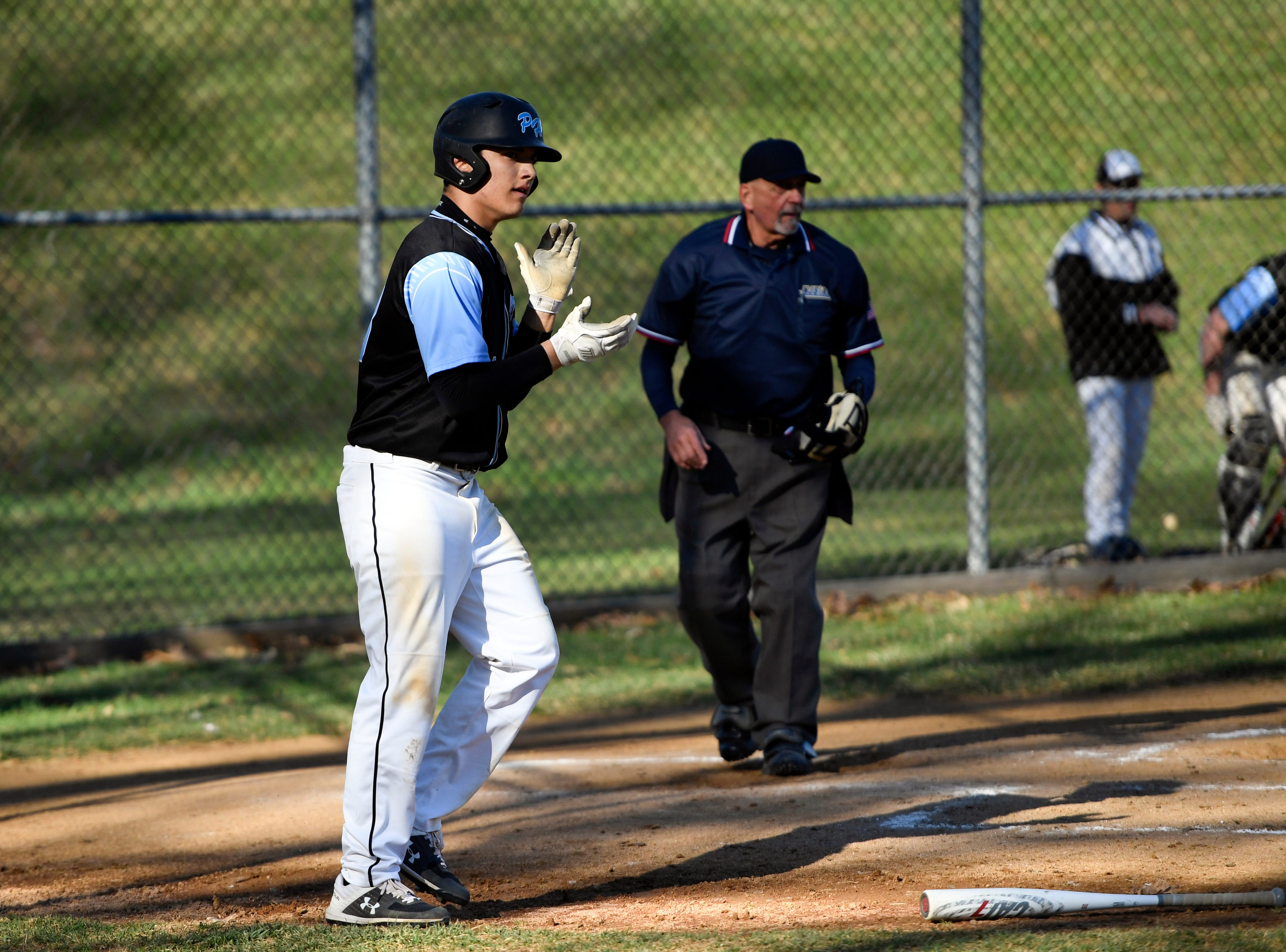Parsippany Hills' Vincent Licor applauds his teammate after scoring against Morris Hills on Wednesday, April 10, 2019, in Rockaway.