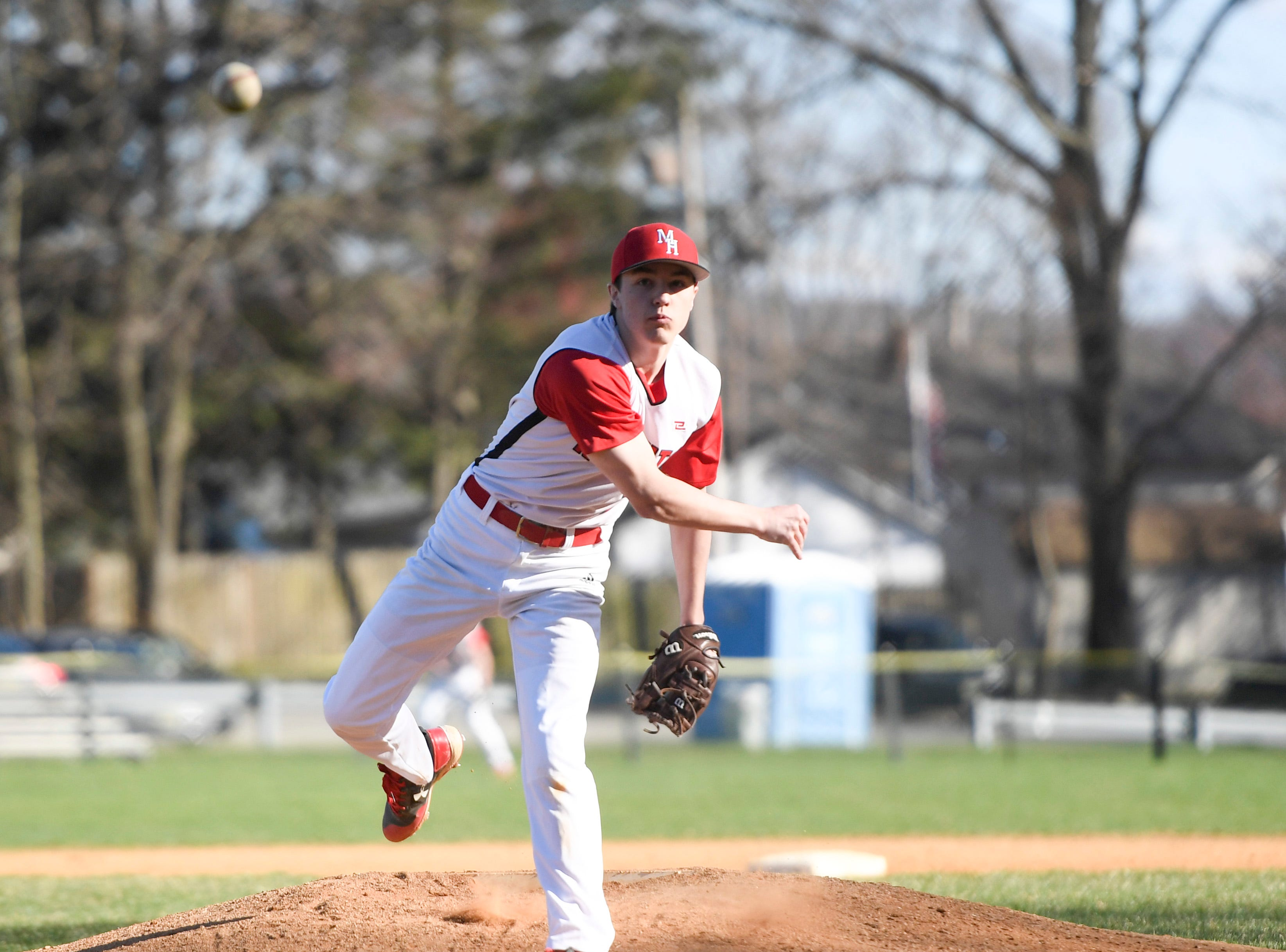 Morris Hills' Jason Ponteliona pitches to Parsippany Hills on Wednesday, April 10, 2019, in Rockaway.