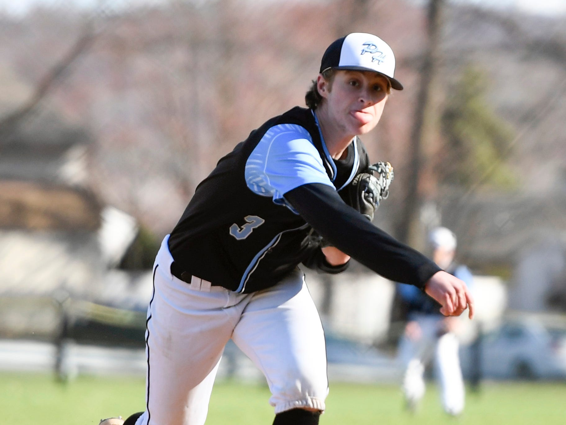 Parsippany Hills' Casey Gorczyca pitches to Morris Hills on Wednesday, April 10, 2019, in Rockaway.