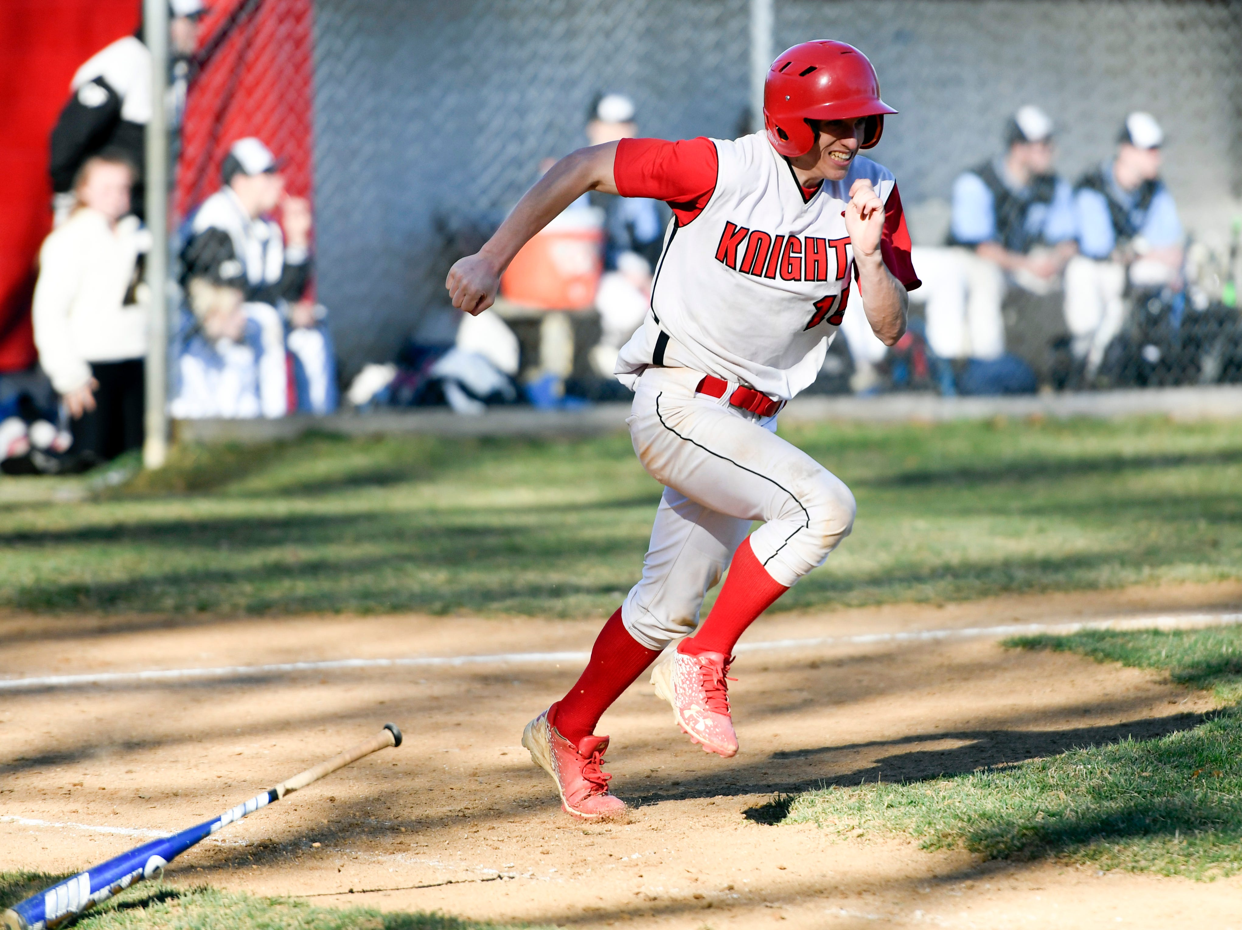 Morris Hills' Dom Rossi sprints after connecting for a double during a game against Parsippany Hills on Wednesday, April 10, 2019, in Rockaway.