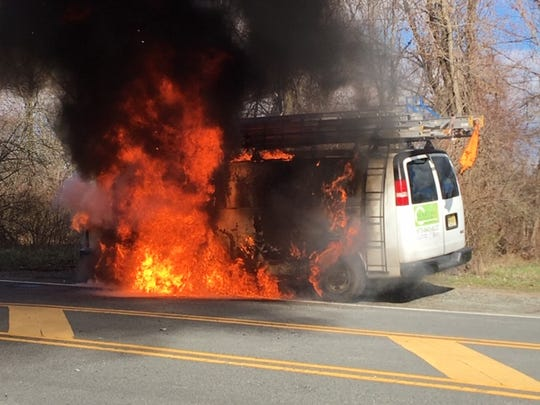 A driver and passenger escaped this van fire on Schooley's Mountain Road in Washington Township (Morris County). April 10, 2019