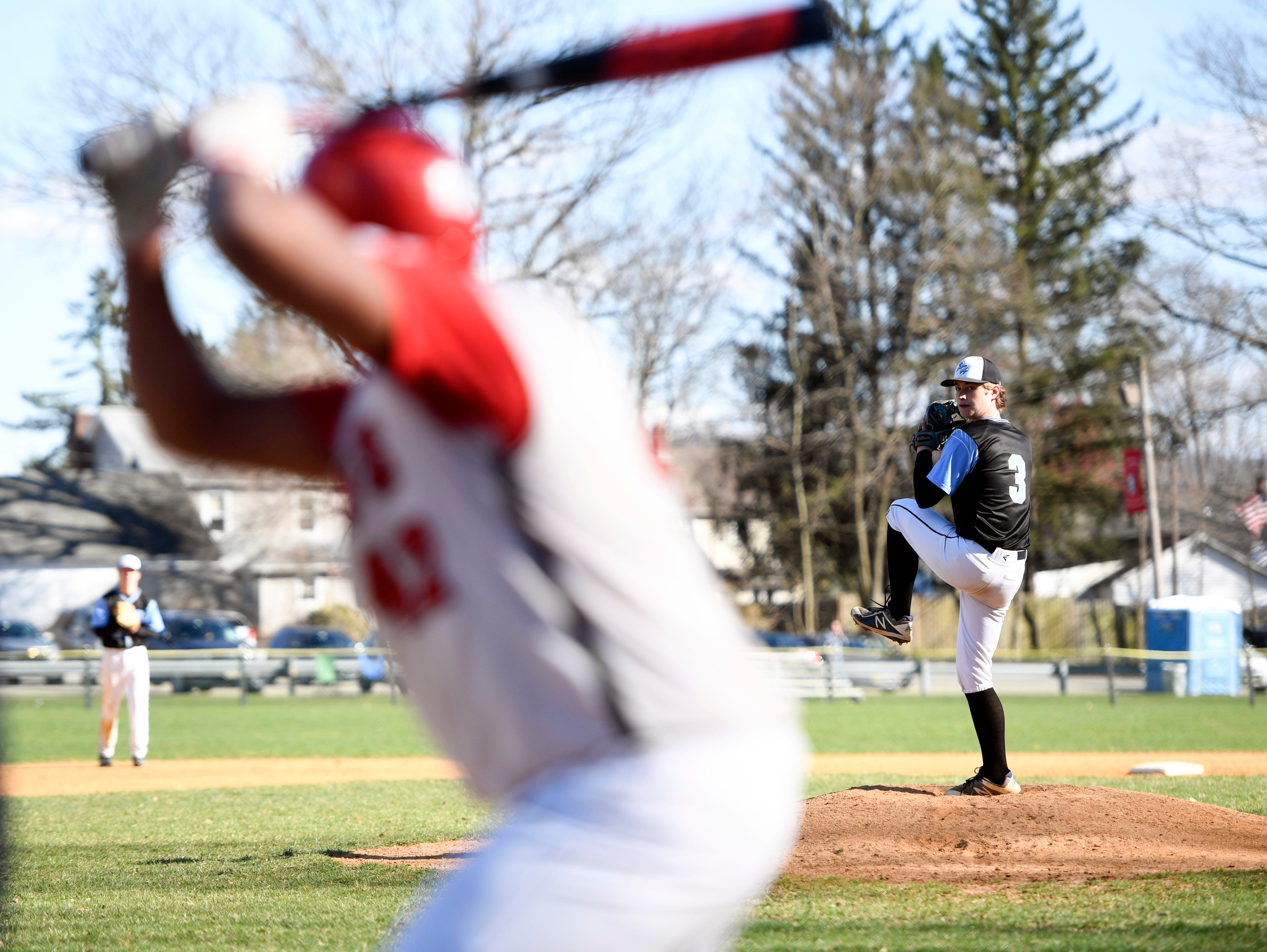 Parsippany Hills' Casey Gorczyca pitches to a Morris Hills batter on Wednesday, April 10, 2019, in Rockaway.