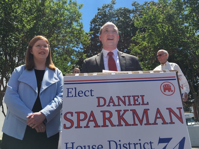 Daniel Sparkman, with his wife Abby, formally announces his candidacy for House District 74 on April 10, 2019 at the Alabama State House.