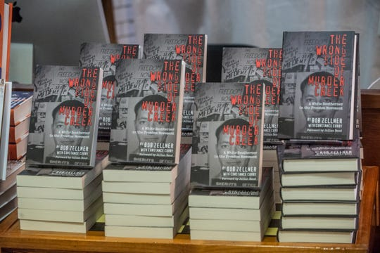 "Copies of Bob Zellner's book ÒWrong Side of Murder Creek: A White Southerner in the Freedom Movement"" on display. A discussion on the upcoming movie ""Son of the South"" took place March 7, 2019, at Read Herring bookstore in Montgomery."