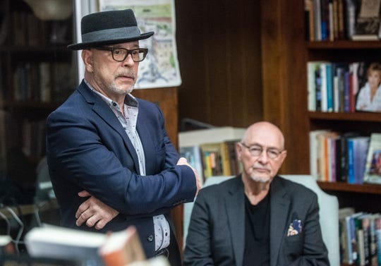 """Director Barry Alexander Brown, left, and author Bob Zellner lead a discussion on the upcoming movie """"Son of the South"""" on March 7, 2019, at Read Herring bookstore in Montgomery."""