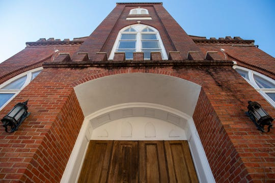 The historic First Presbyterian Church building in Montgomery, Ala., which houses ministries from First Baptist Church, is shown on Wednesday April 10, 2019.