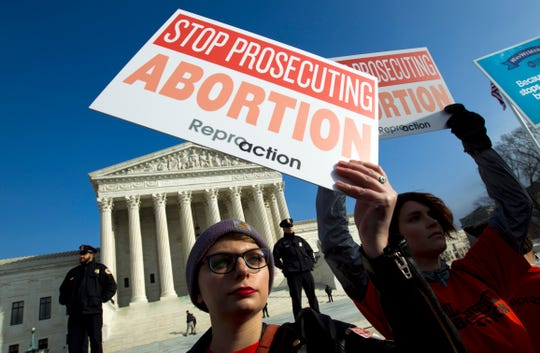 FILE - In this Jan. 18, 2019, file photo, abortion rights activists protest outside of the U.S. Supreme Court, during the March for Life in Washington.