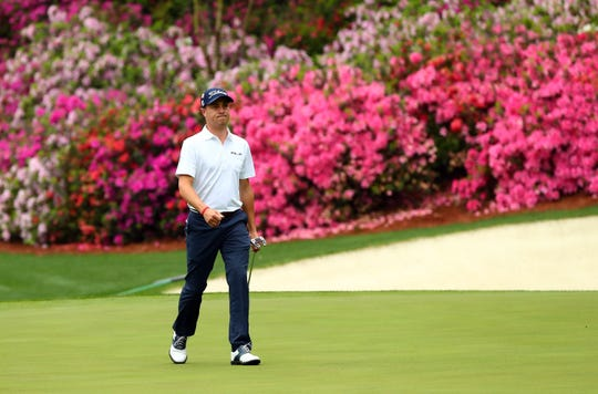 Apr 8, 2019; Augusta, GA, USA; Justin Thomas walks on the 13th green during a practice round for the Masters golf tournament at Augusta National Golf Club. Mandatory Credit: Rob Schumacher-USA TODAY Sports