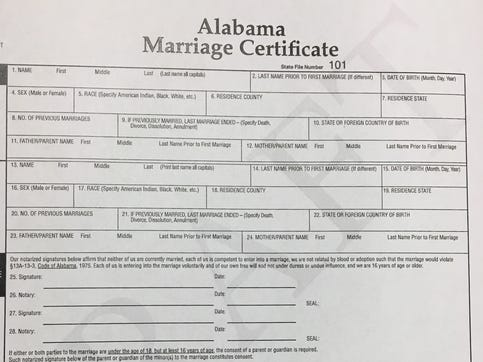 If a bill abolishing marriage licenses in Alabama is adopted, this form would be used. Unlike current forms, it would require notarization.