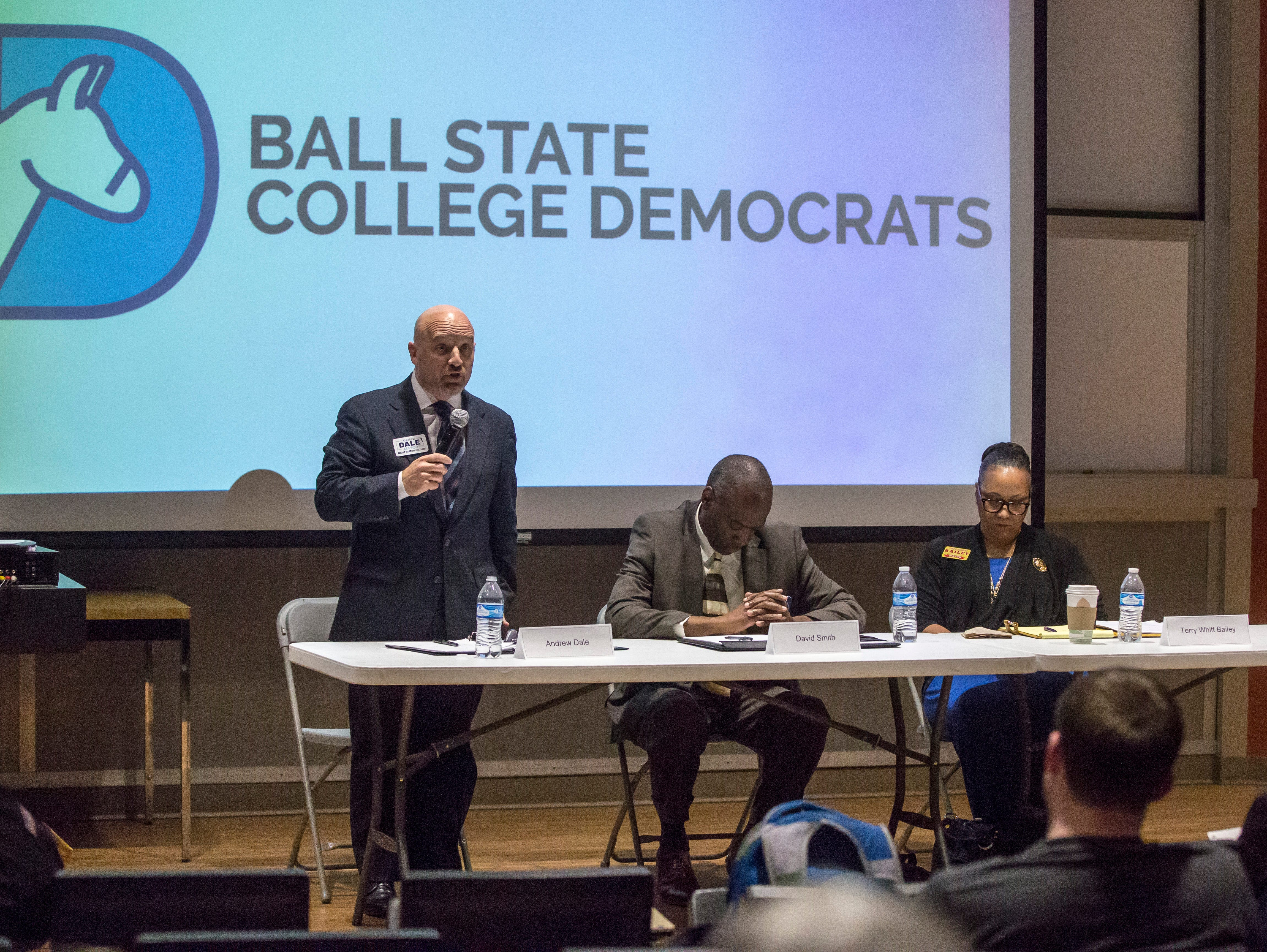 Andrew Dale answers a question during the BSU College Democrat debate Tuesday evening at Ball State University. Dale appeared on stage with Saul Riley, Dave Smith and Terry Whitt Bailey.