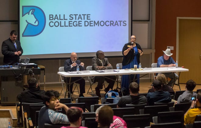 Terry Whitt Bailey answers one of a dozen questions posed to the four Democrat candidates during a debate Tuesday at Ball State University. Candidates have appeared together in forums hosted by different organizations previously.