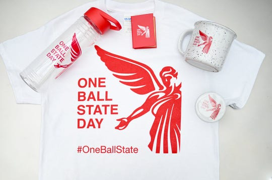 T-shirts and other paraphernalia promote One Ball State Day.