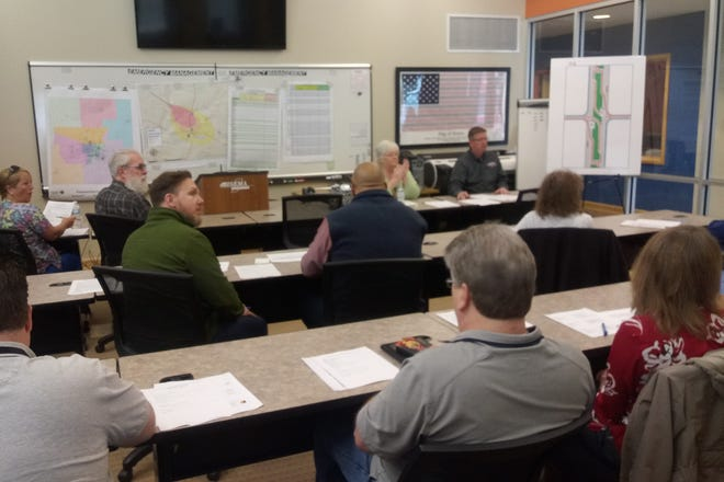 """INDOT and emergency officials with Delaware County meet to discuss the potential """"J-turn"""" intersection at Ind. 332 and Delaware County Road 600-W."""