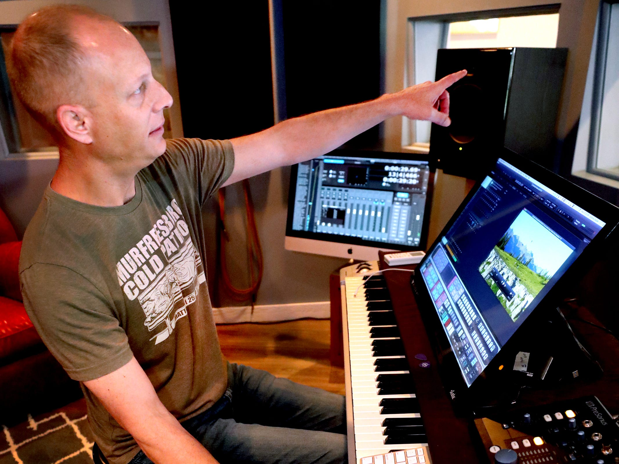 Andy Harper talks how his studio is designed so that musicians can see everyone working at one time while recording in his studio Limitedwave Recordings on Wednesday April 10, 2019.