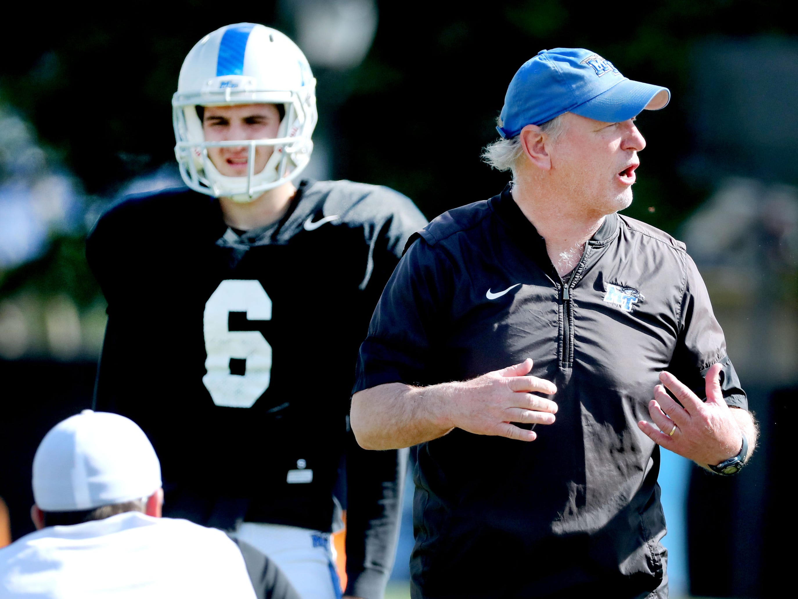 Offensive coorinator Tony Franklin talks with the quarterbacks during MTSU's football practice, in Murfreesboro on Tuesday April 9, 2019.