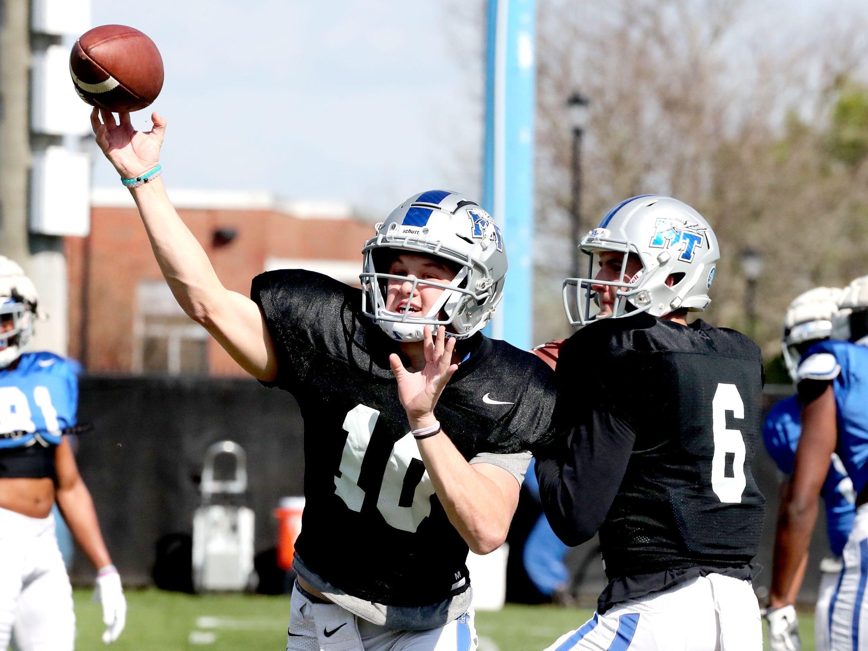 MTSU's quarterback Asher O'Hara (10) passes the ball during MTSU's football practice, in Murfreesboro on Tuesday April 9, 2019.