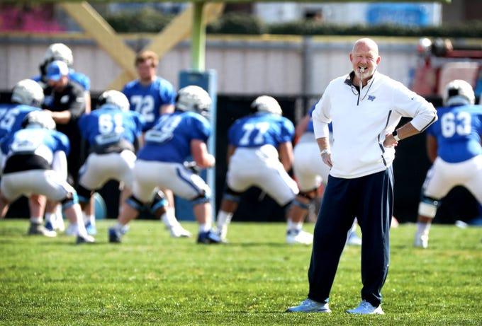 MTSU's head coach Rick Stockstill on the practice field during MTSU's football practice, in Murfreesboro on Tuesday April 9, 2019.