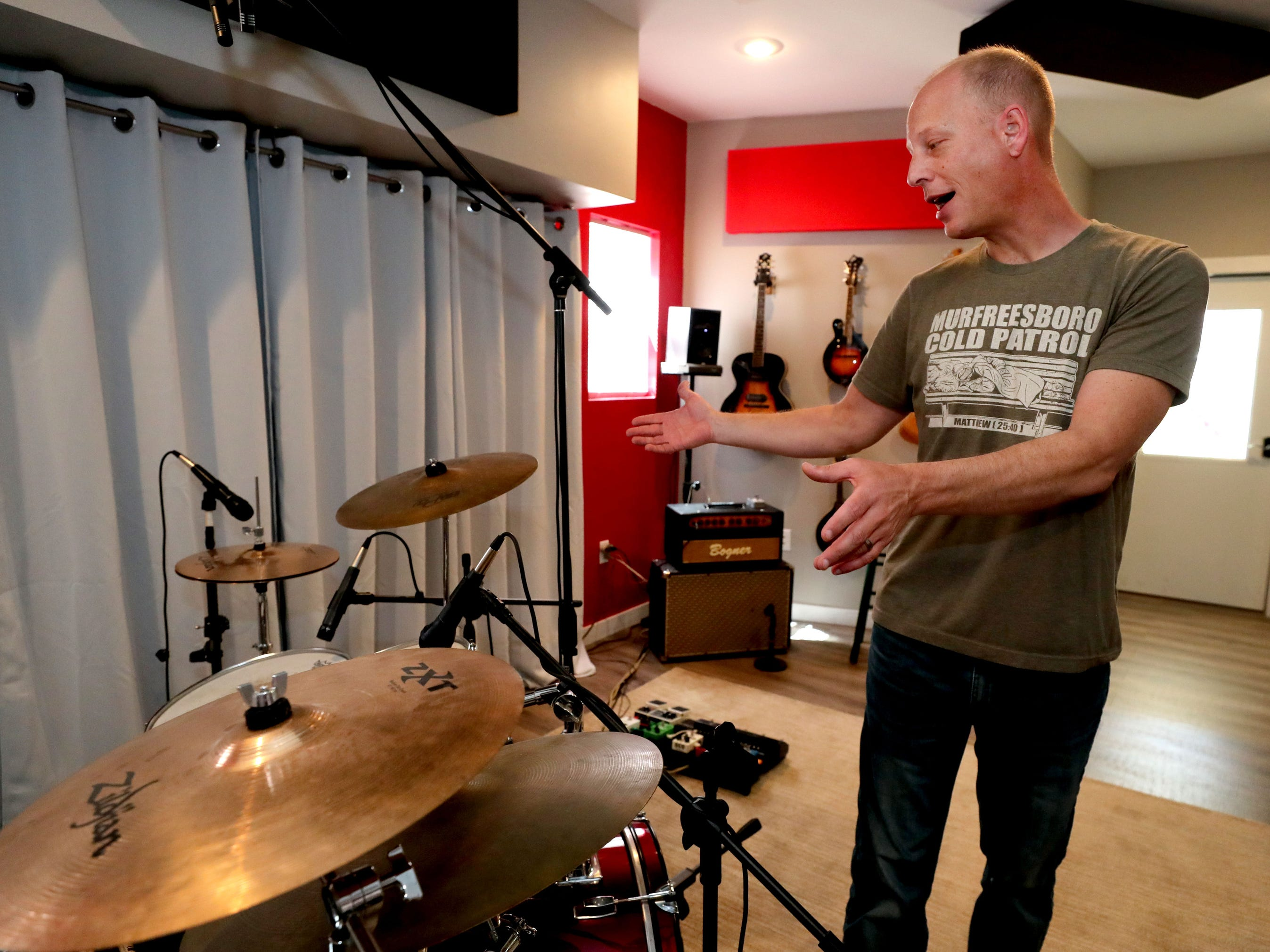Andy Harper shows off his his studio space in his studio Limitedwave Recordings on Wednesday April 10, 2019.