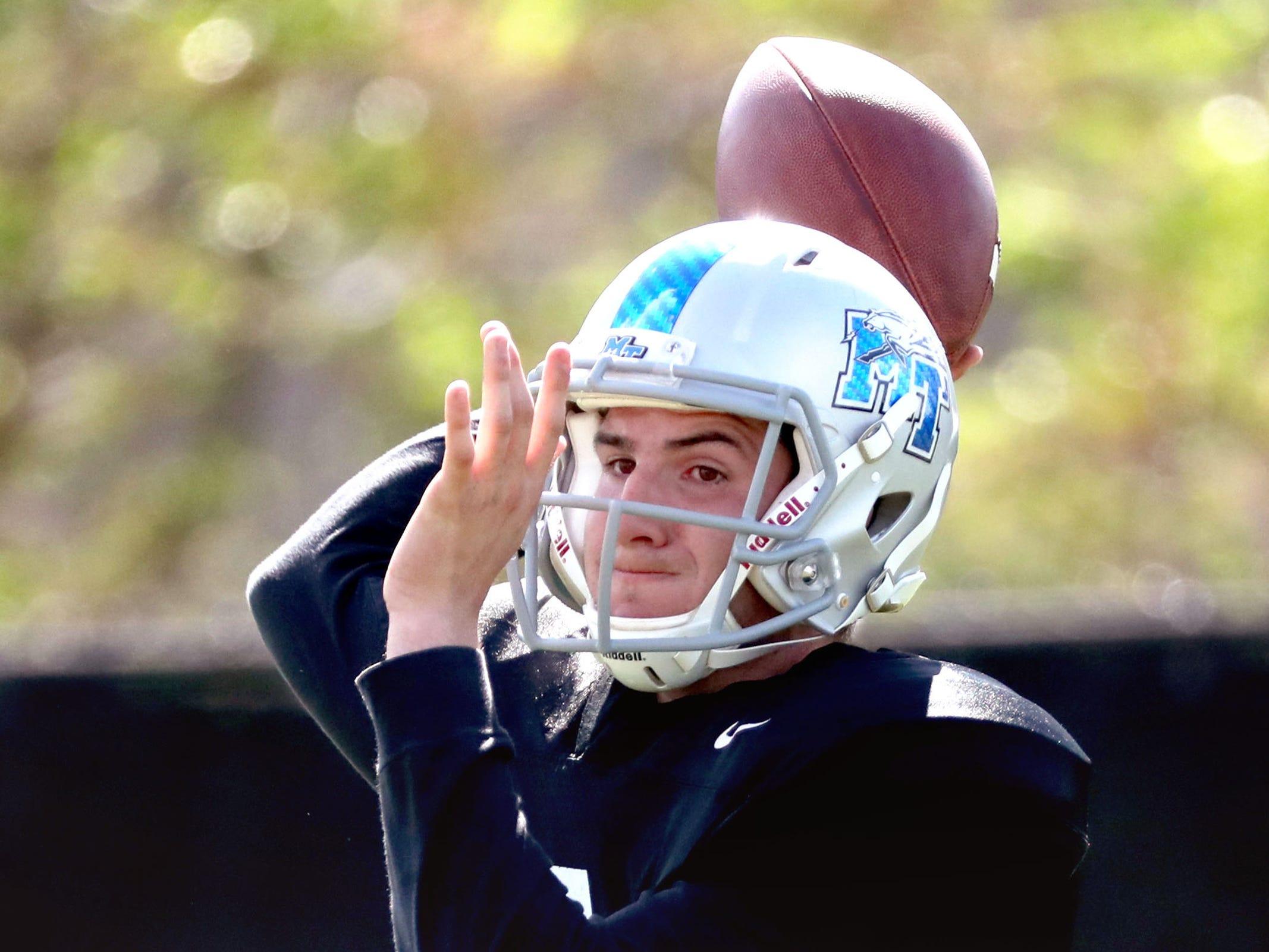 MTSU's quarterback Chance Nolan (6) passes the ball during MTSU's football practice, in Murfreesboro on Tuesday April 9, 2019.