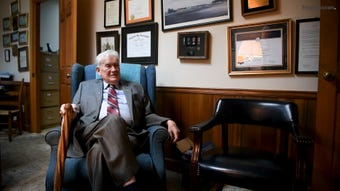 James L. Bass, 97, has been a lawyer for 70 years and still works five days a week wearing a suit and tie most days
