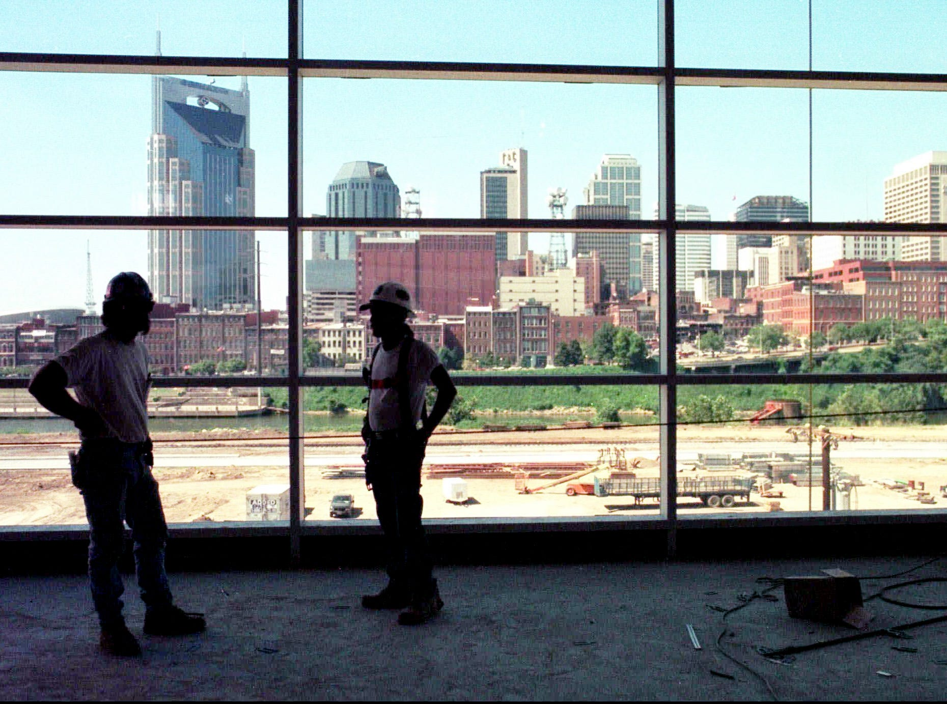 The Nashville skyline can be seen through the windows on the club level of the new Tennessee Oilers' stadium under construction Sept. 3, 1998. A place to call home is something the team is looking forward to when the Oilers start the 1999 season in the yet unnamed stadium, it will be their fourth home field in four years.