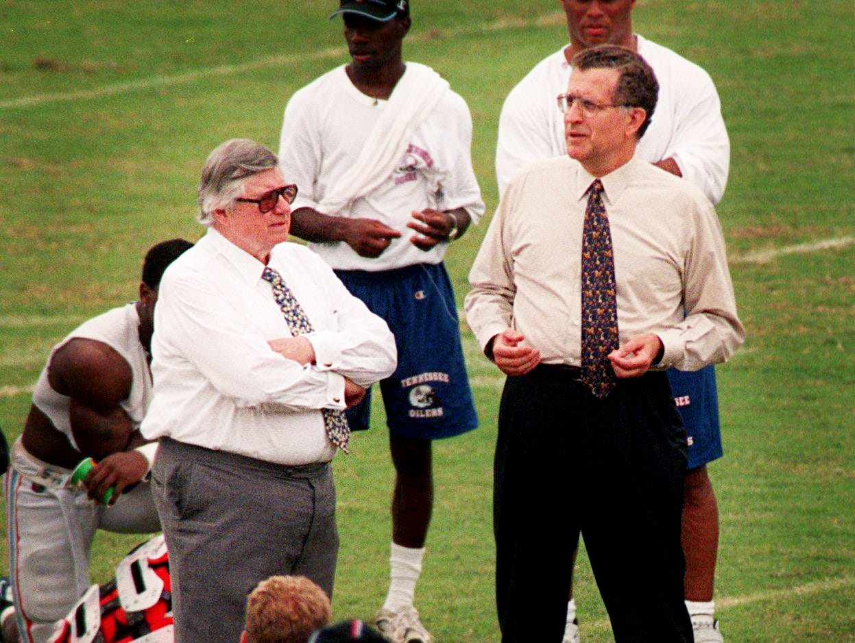 Tennessee Oilers owner Bud Adams, center left, and NFL commissioner Paul Tagliabue, center right, explain how the team name will be changed in the 1999 season following morning practice at training camp July 29, 1998.