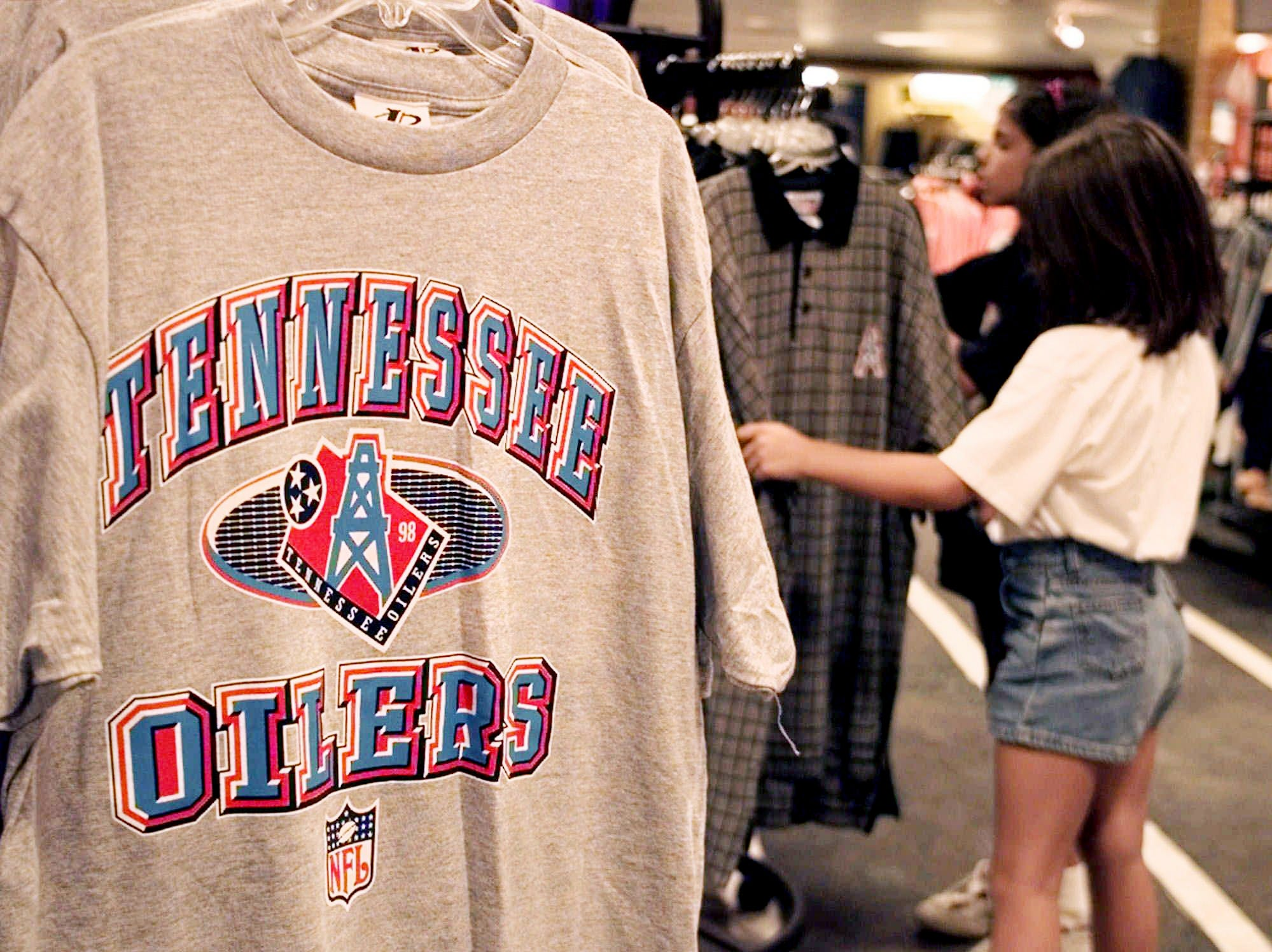 Tennessee Oilers' merchandise is displayed in a Nashville department store Aug. 6, 1998. For the first time in nearly 20 years, Oilers merchandise is flying off the shelves. All it took was a promised name change from Tennessee owner Bud Adams to turn the derrick logo into a collectable.