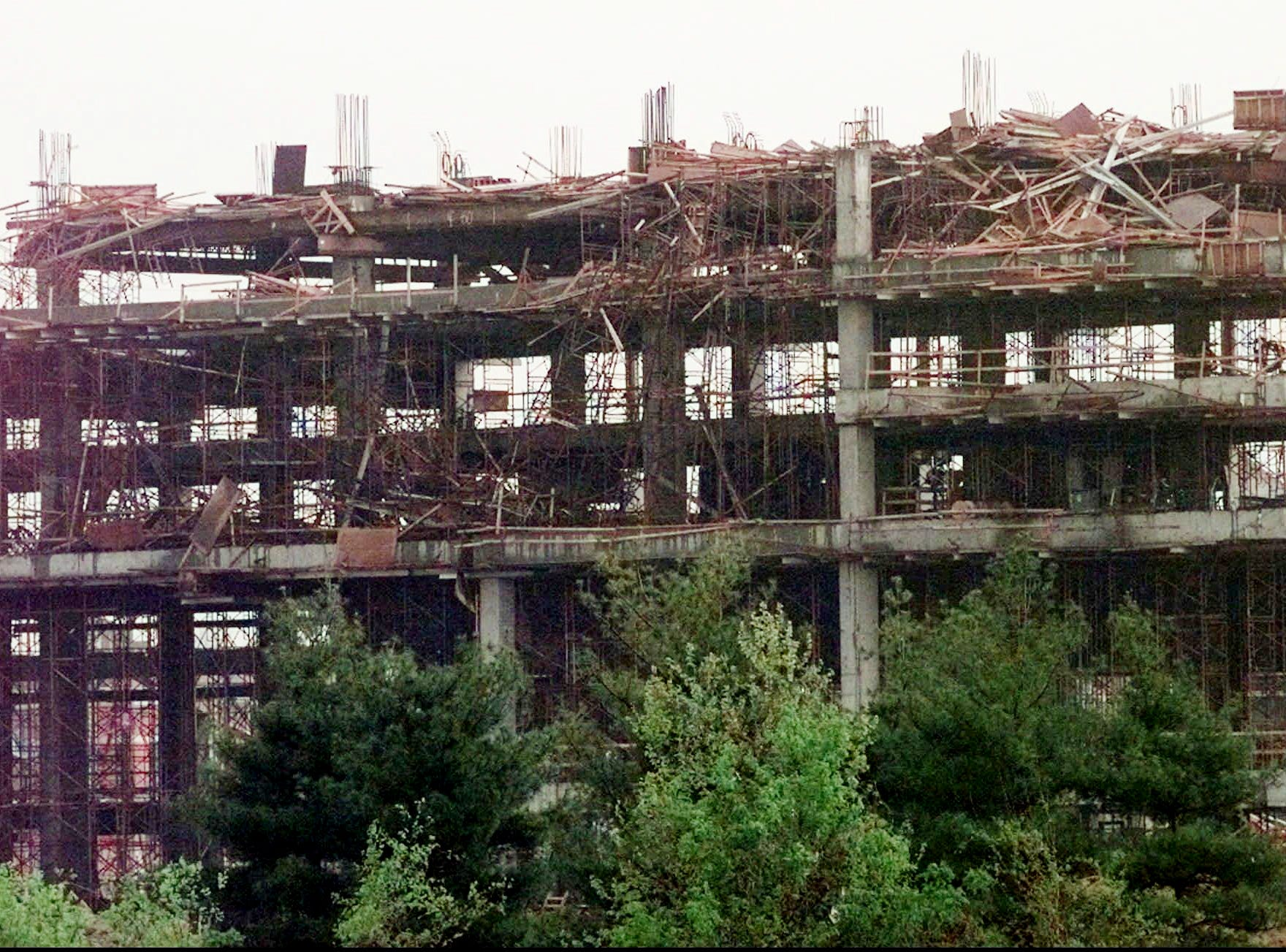 The new stadium for the Tennessee Oilers under construction in Nashville shows damage after a tornado hit April 16, 1998. At least 100 people were reported injured and 300 buildings were damaged as two tornado hit the downtown area.
