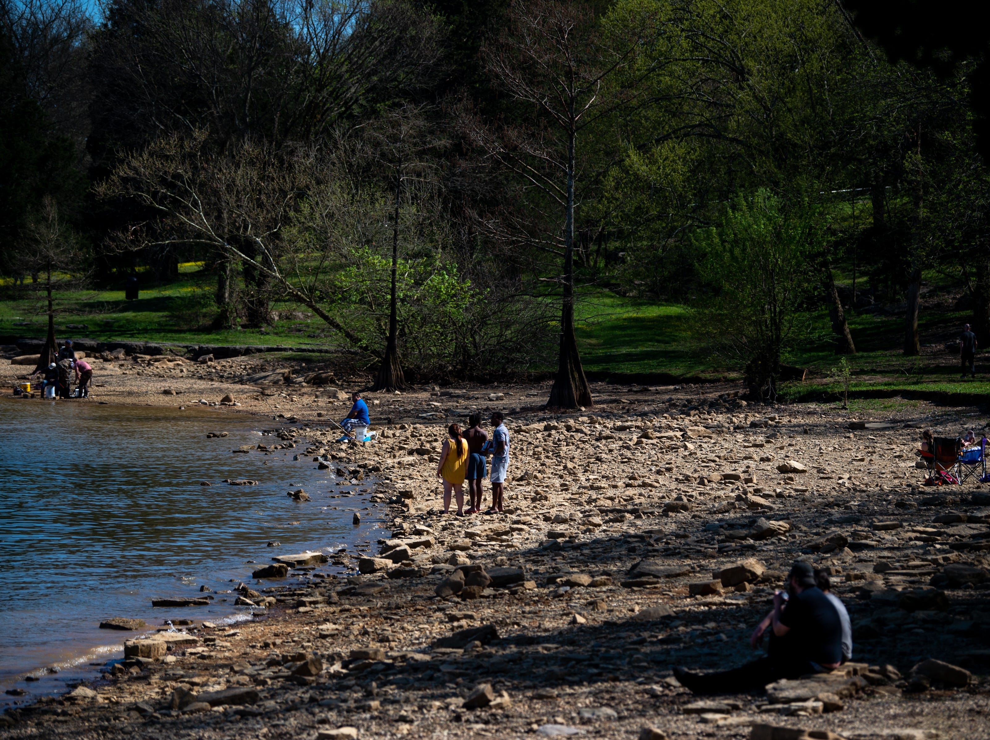 People gather at Percy Priest Lake to enjoy the weather Wednesday, April 10, 2019, in Nashville, Tenn.