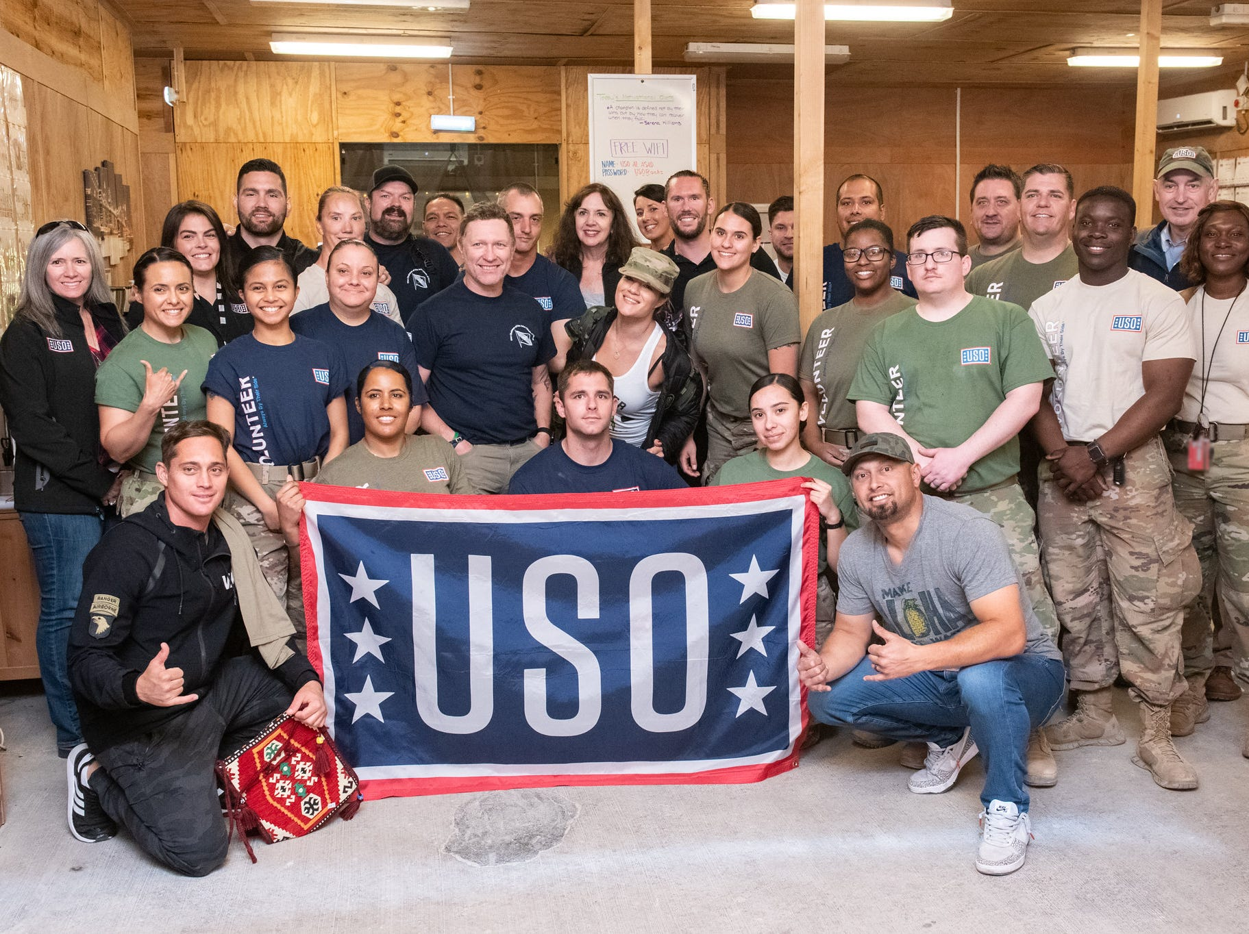 Entertainers and athletes take questions and interact with the audience during a USO Show at Al Asad Airbase, Iraq; the sixth stop on the annual Vice Chairman's USO Tour, April 2, 2019. Country music artist Craig Morgan, celebrity chef Robert Irvine, UFC Hall of Famer BJ Penn, former UFC Middleweight champion Chris Weidman, professional mixed martial artist Felice Herrig, two-time MLB World Series champion Shane Victorino; and professional surfer Makua Rothman joined Air Force Gen. Paul J. Selva, vice chairman of the Joint Chiefs of Staff, on a tour across the world as they visit service members overseas to thank them for their service and sacrifice. (DoD Photo by U.S. Army Sgt. James K. McCann)