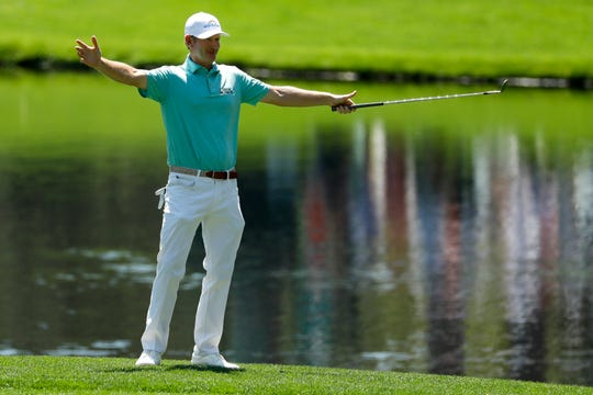 Brandt Snedeker reacts after making a birdie on the third hole during the par-3 golf tournament at the Masters on Wednesday, April 10, 2019, in Augusta, Ga.