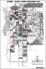Map of Bayshore/Gateway Triangle redevelopment area.