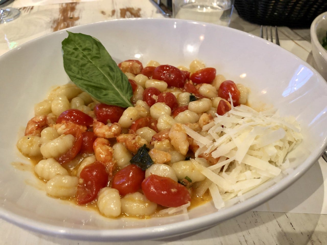 Gnocchi with Sicilian red shrimp ($30), tomatoes and basil from La Pescheria. The restaurant's pastas are its biggest strength.