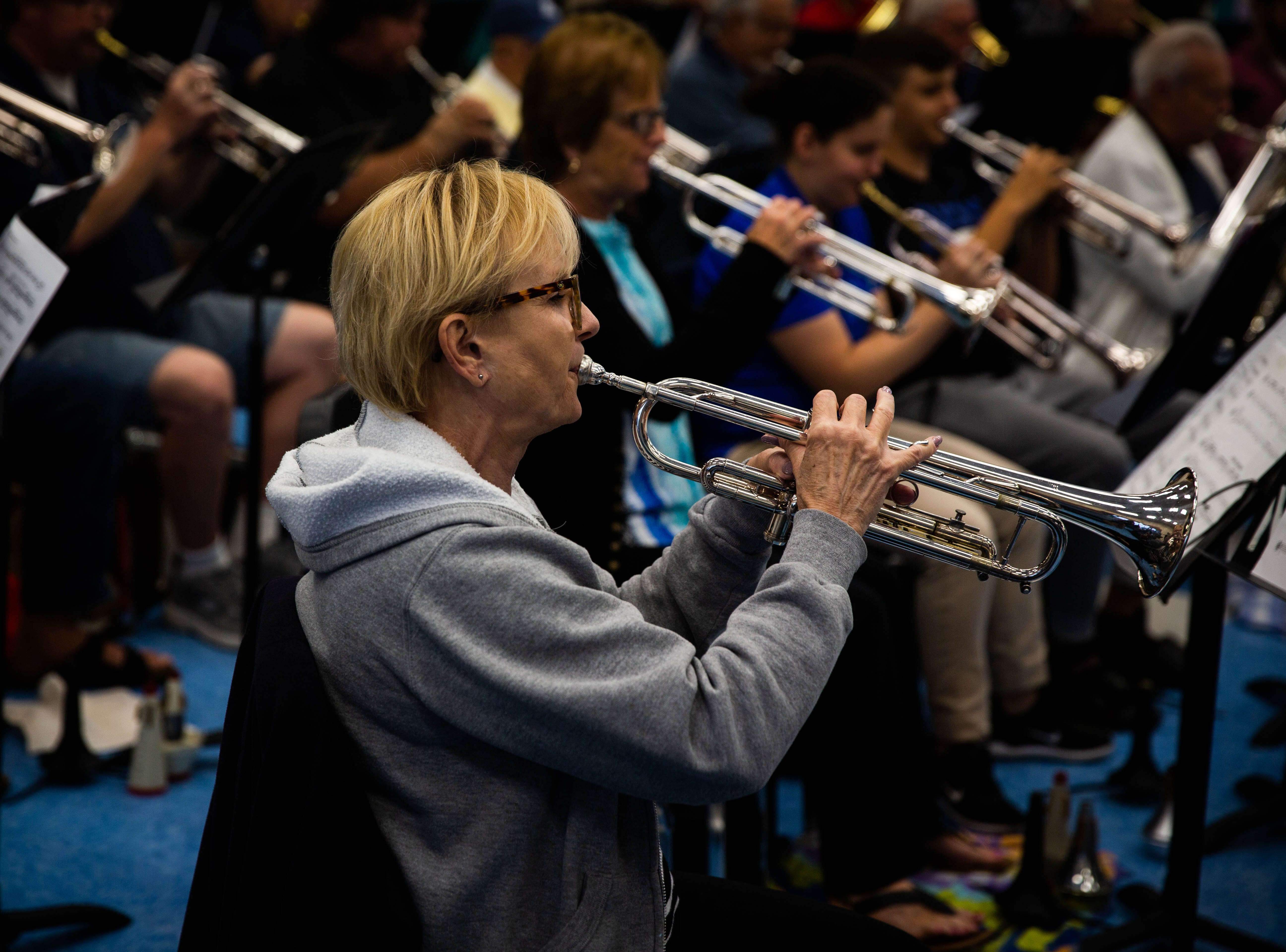 Shirley Mann practices with the Naples Concert Band  at Gulfview Middle School on April 9, 2019. Like several other members, Mann has been with the band for 40 years.