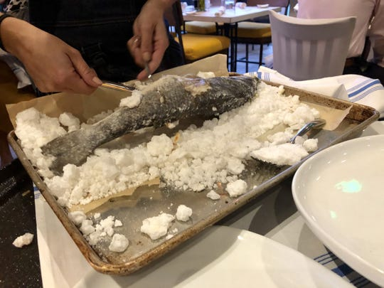 La Pescheria offers its whole fish fried, roasted or baked in a thick crust of salt, which makes for a theatrical presentation.