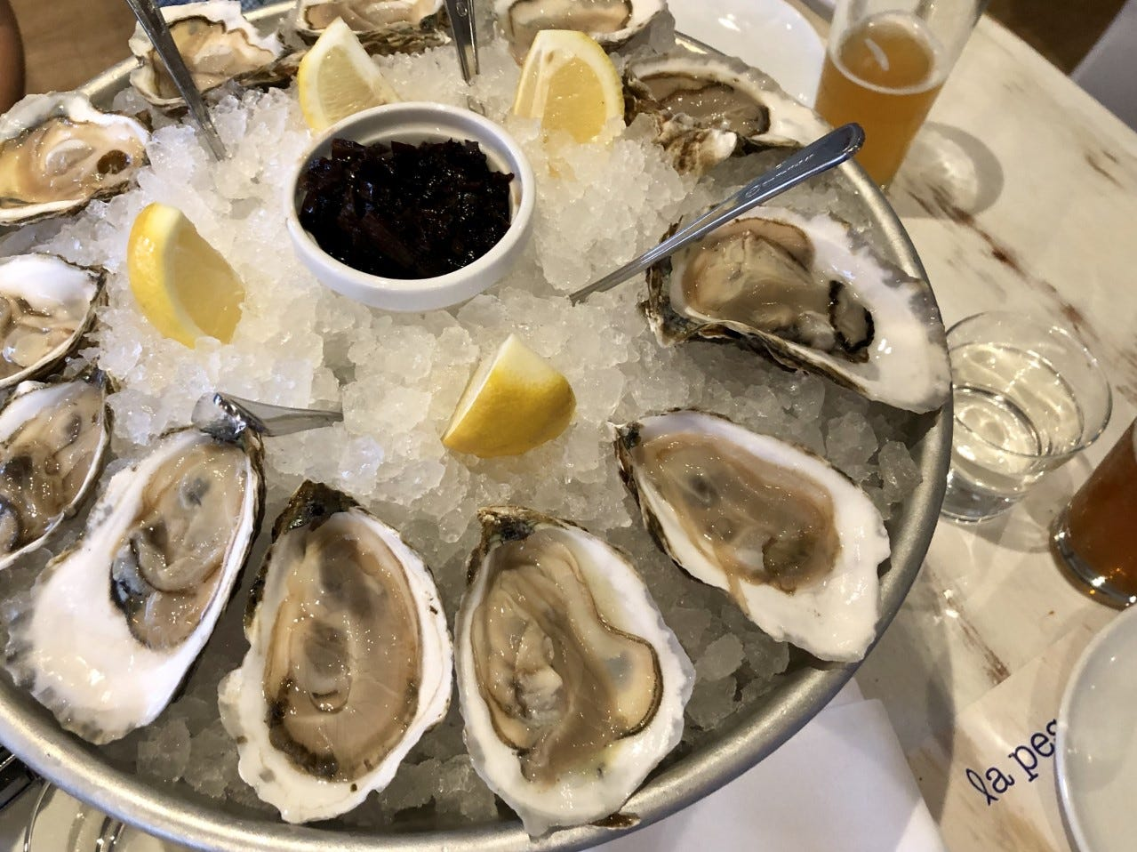 A platter of cold-water oysters from La Pescheria. The oysters were a tad dry, but plump.