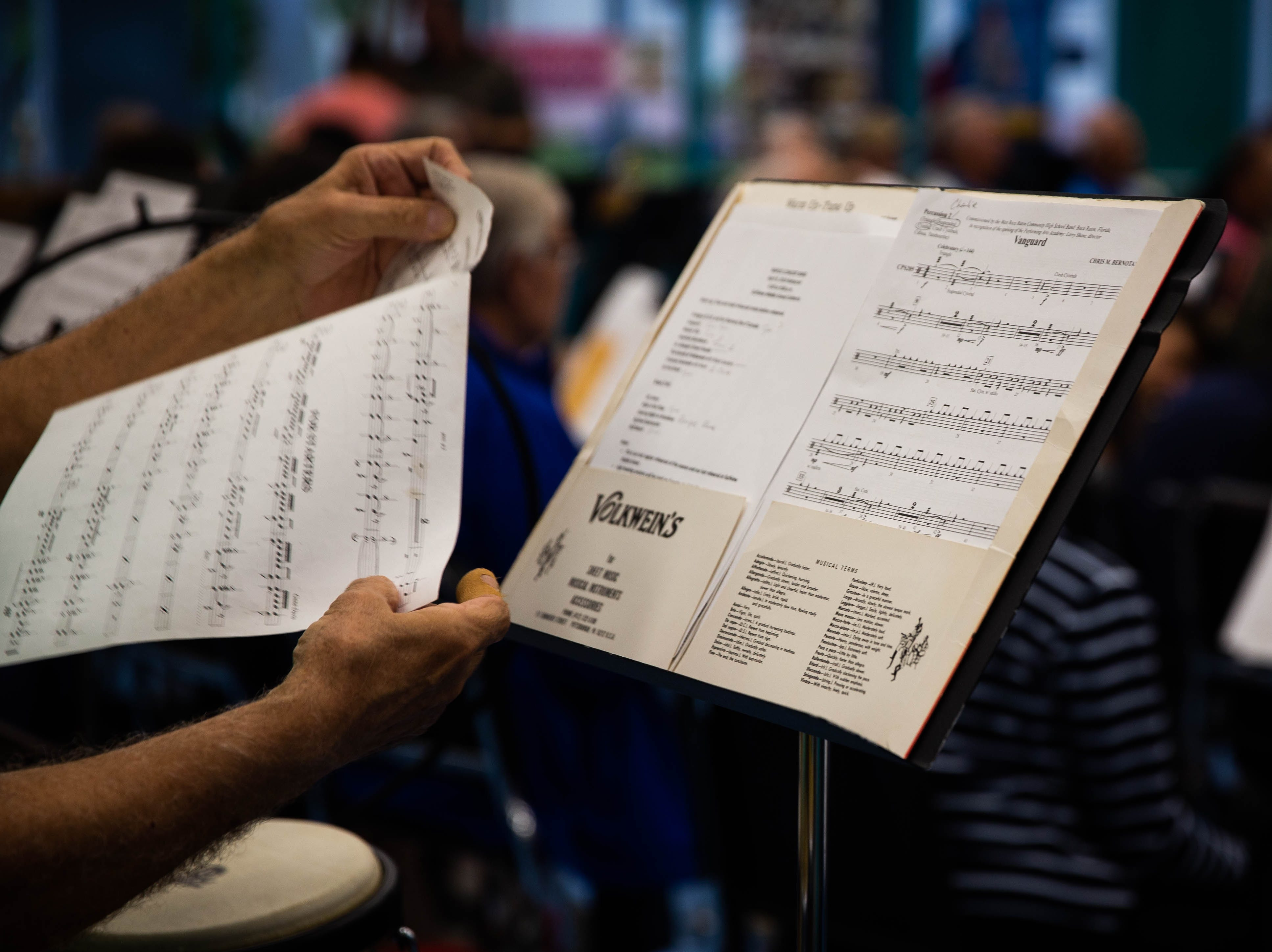Sheets of music at the Naples Concert Band practice held at Gulfview Middle School on April 9, 2019. After 40 years using the facility, this is their last practice.