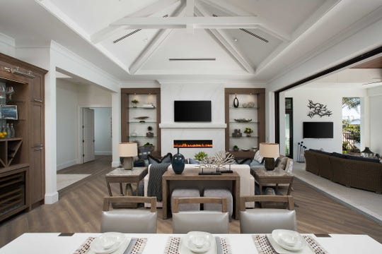 The interior great room of the Peninsula's Burano model, built by Imperial Homes of Naples is shown.