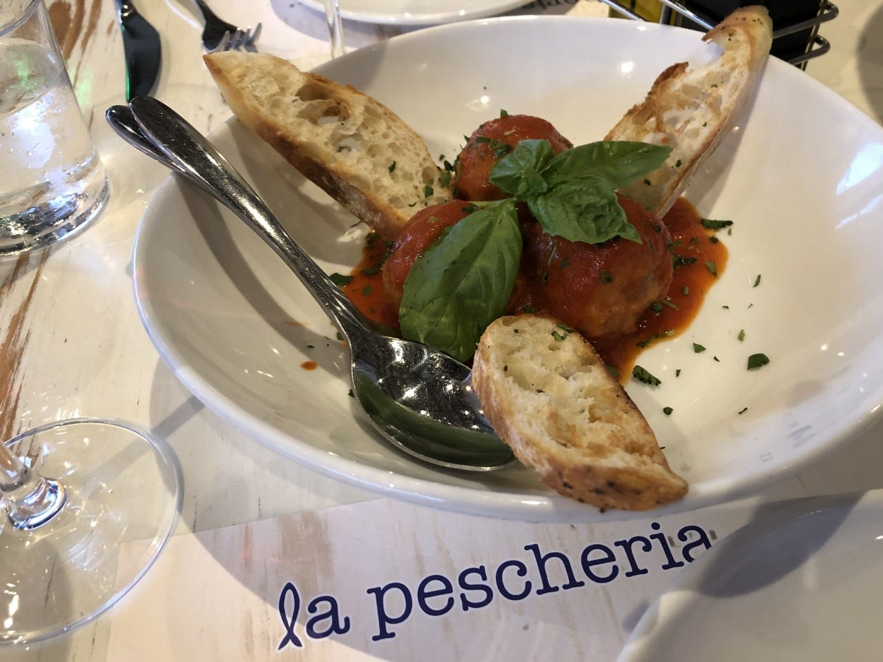 Branzino meatballs ($15) from La Pescheria make you rethink the genre entirely. They are velvety and delicious with a briny sweetness.