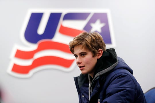 In this Tuesday, Nov. 27, 2018, photo, Jack Hughes, expected to be a top pick in the next NHL hockey draft, is interviewed in Plymouth, Mich. USA Hockey has developed the nation's top players for more than two-plus decades, producing a quartet of No. 1 overall picks in the NHL draft, including Auston Matthews and Patrick Kane. Hughes may be next. (AP Photo/Carlos Osorio)