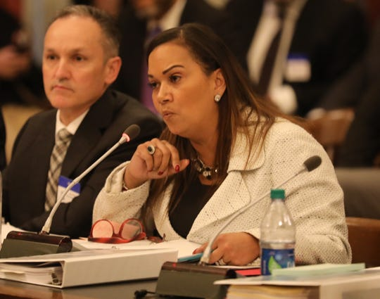 Former Schools Development Authority CEO Lizette Delgado-Polanco testifies about her department in front of the Assembly Budget Committee.